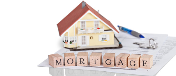 Model House Word Mortgage Keys and Pen